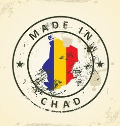 Stamp with map flag of chad vector