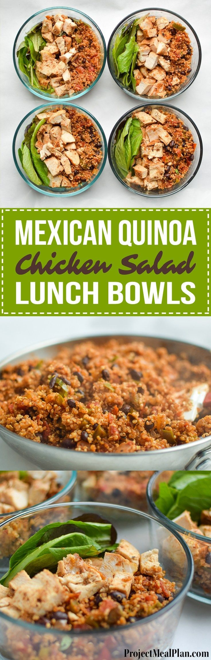 Mexican Quinoa Chicken Salad Lunch Bowls - My meal prep this week consisting of mexi quinoa and baked chicken breast over greens! - http://ProjectMealPlan.com