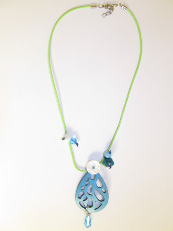 Handmade short leather necklace (1 pc)  Made with turquoise leather filigree, light green leather cord, turquoise stone, glass beads and mother of pearl.