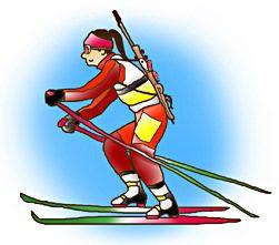 バイアスロン biathlon. A competition of the Winter Olympics.