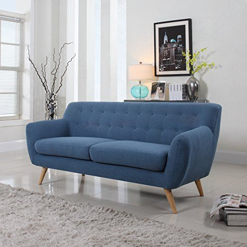 Scandinavian Mid-Century modern tufted linen fabric loveseat in various colors - polo blue, blue, light grey, yellow and red (Blue) * You can find out more details at the link of the image.