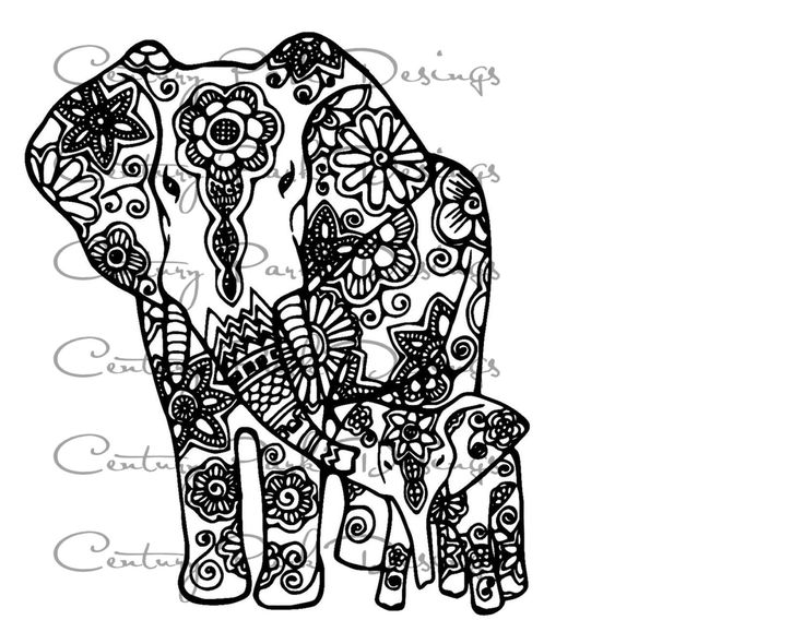 Elephant Baby Mandala SVG JPEG PNG Pdf Use With Silhouette Studio