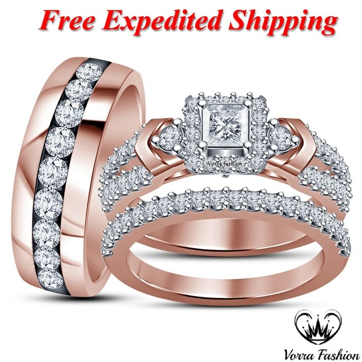 1432 best Trio Engagement Ring Set images on Pinterest