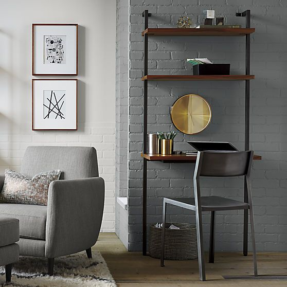 A wall-leaning desk area could live in the nook to the right of the TV – helix acacia desk | CB2