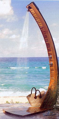 Wish I was here right now! - A tropical waterfall of its own - Bamboo Solar Shower