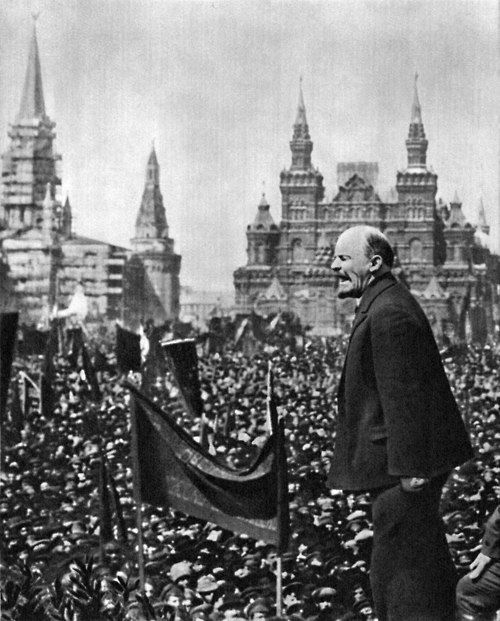 Vladimir Lenin is making a speech at the Red Square, 1919.