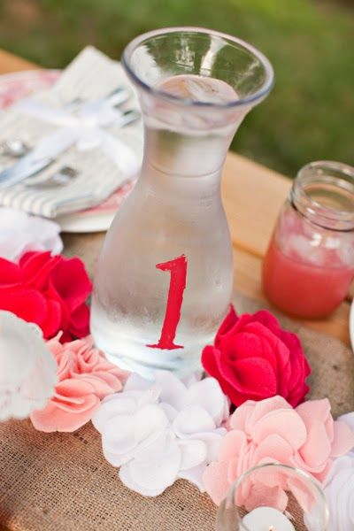 Want pretty, simple, and functional table numbers for your next party? Make your own water jug table numbers!  Supplies Empty glass jug Cra...