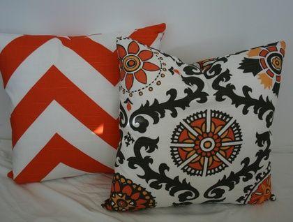 Beautiful Chevron Cushion Cover, Funky Orange and White
