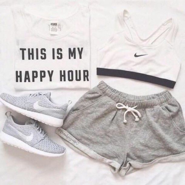 Shorts: nike, sports bra, sportswear, nike running shoes, nike shoes, top, grey, grey shorts, outfit, summer outfits, style, fashion, black and white, white, t-shirt - Wheretoget