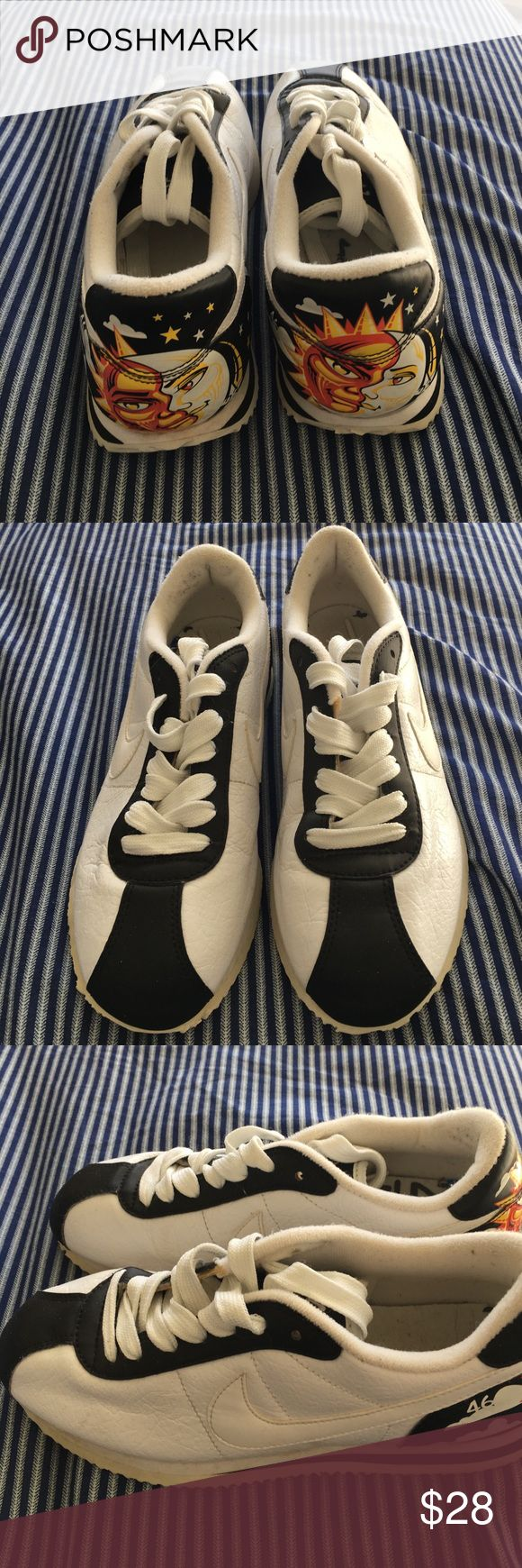 Nike Cortez Sun/Moon Kids 5Y Excellent gently used condition white Nikes with sun and moon design on heel. These were barely worn by my daughter because she didn't like them. Size is 5Y which is big kids and will fit women but I'm not sure which size. Nike Shoes Sneakers