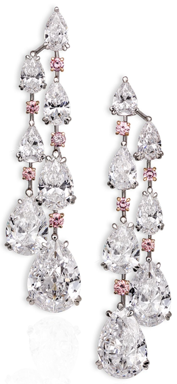 David Morris | Important white diamond chandelier earrings comprising D/IF pear shapes with vivid pink diamonds Total weight 49.10cts