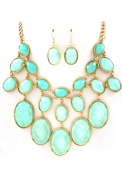 Ocean Blue Vitrail Etta Necklace on Emma Stine Limited
