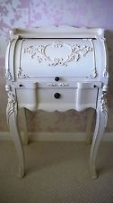 Shabby Chic French Rolltop Bureau Writing PC Laptop Desk Carved Antique Cream