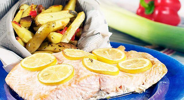 Chililaks med ovnsbakte grønnsaker. In Norwegian
