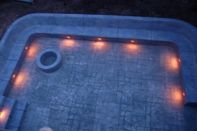 Sunken Patio with fire pit and lighting