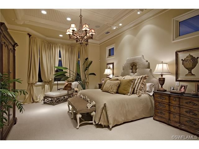 Formal Traditional Master Bedroom Chandelier With Shades Large Upholstered Headboard Prato