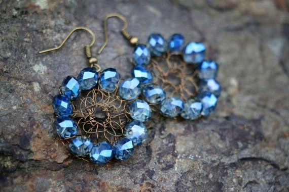 Metallic Brass Circular Wire Mesh Earrings With by nZuriArtDesigns
