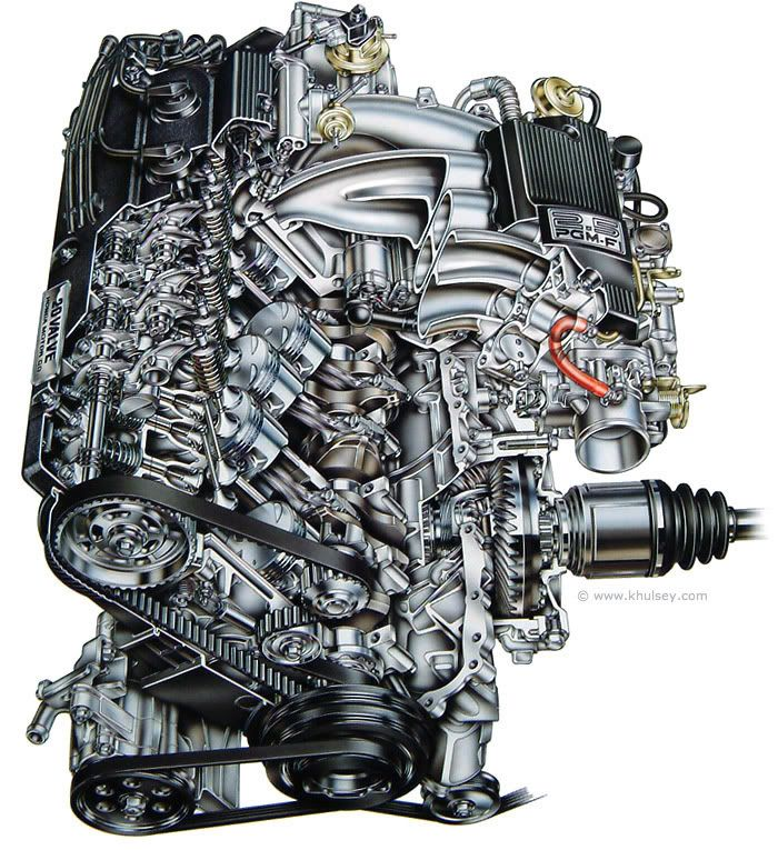 This Is A Cutaway Of An Acura Vigor Engine. An Automotive