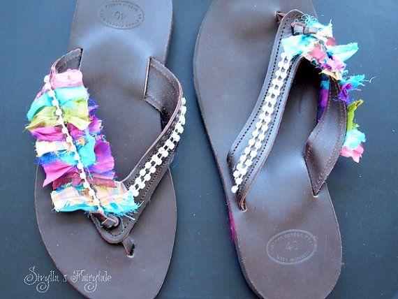 Saris fantasy  Leather sandals  Flip flops by sivylla on Etsy, €50.00