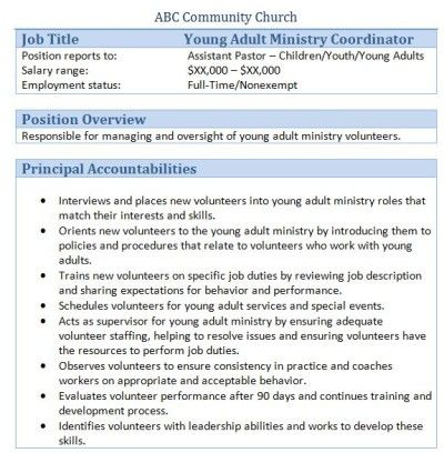 45 free downloadable sample church job descriptions - Church Administrator Salary