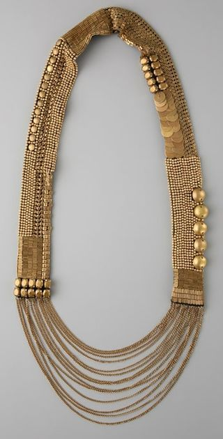 Gold long necklace which can be used as a waist belt