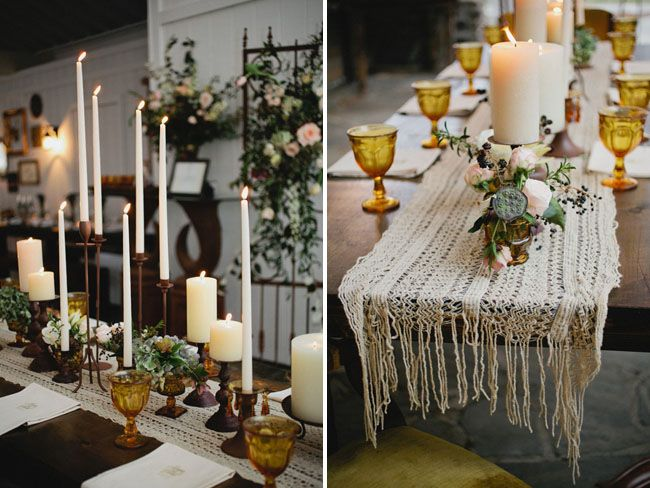 Candles as the centerpiece | Styling + decor by Cedarwood Weddings, Photography by Kristyn Hogan