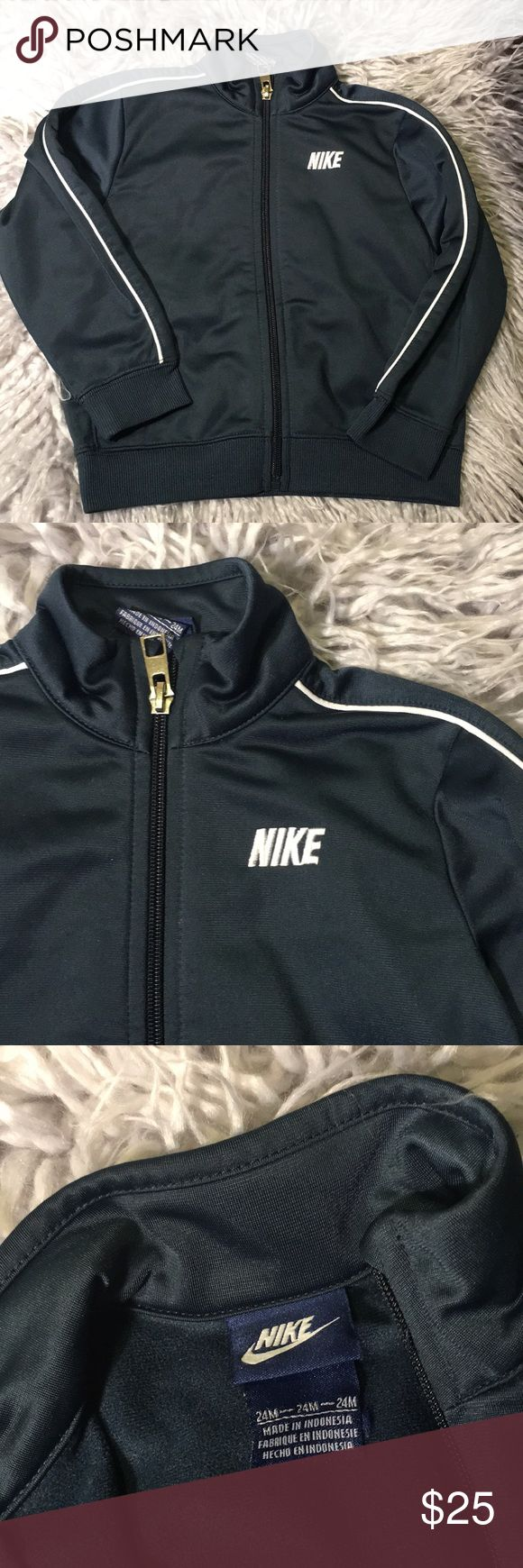 Nike track jacket 24 Months Great condition zipper jacket for boys. Side pockets. White trimming. Plan backside. Navy blue. Nike Shirts & Tops Sweatshirts & Hoodies