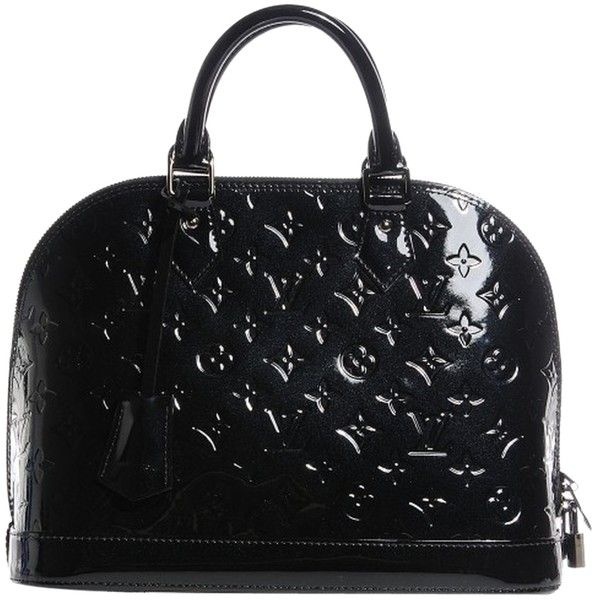 Pre-owned Louis Vuitton Vernis Alma Pm Noir Magnetique Satchel (45,980 MXN) ❤ liked on Polyvore featuring bags, handbags, none, red patent leather purse, pre owned handbags, satchel purse, satchel handbags and black patent leather purse