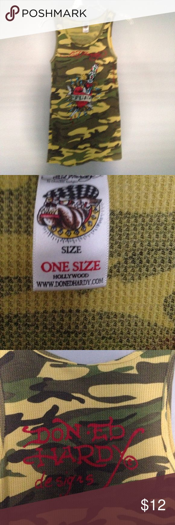 """Ed Hardy camp design tank top One Size Don Ed Hardy designed tank top Yellow and green camo design with red sequins heart on front 100% cotton One size 13"""" armpit to armpit (stretches) 27"""" length from shoulder to hem Great used condition Ed Hardy Tops Tank Tops"""