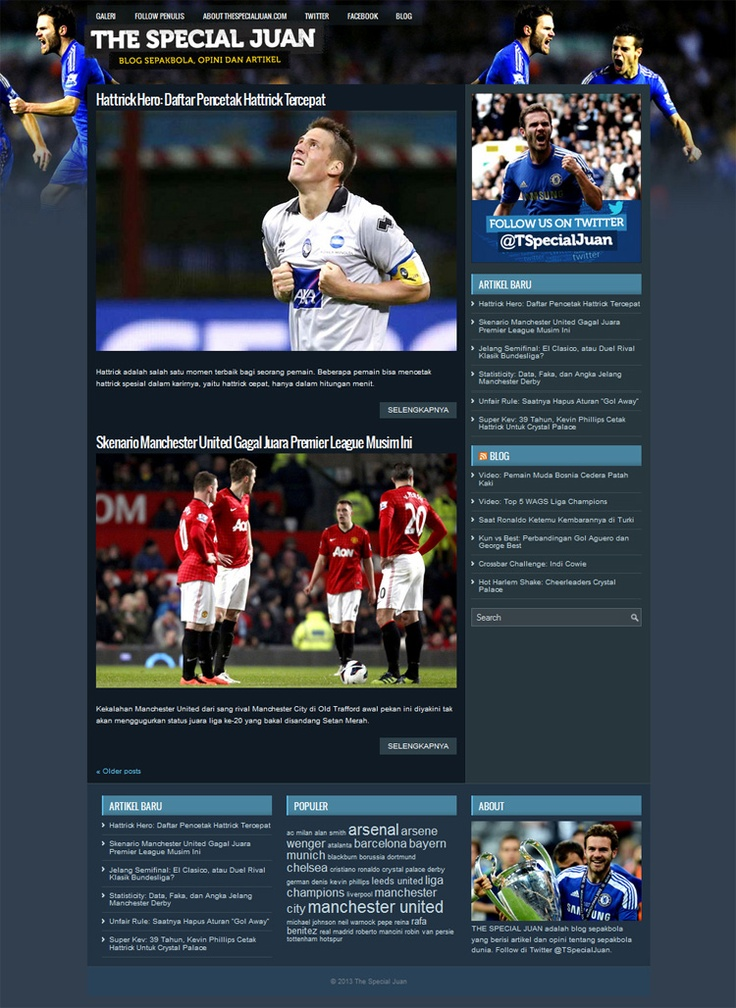 The Special Juan, a blog design with football article content related.