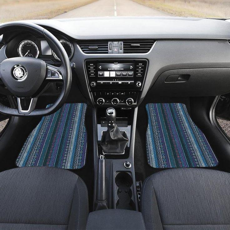 Blue Boho Stripe Decor Car Floor Mats Car Floor Mats Set Floor Mats For Car Bohemian Boho Chic Car Floor Mats Car Mats Floor Mats