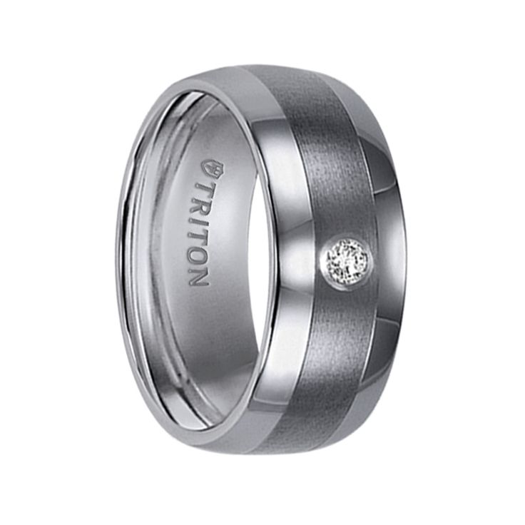 Triton Rings - ORSON Domed Tungsten Carbide Wedding Band with Satin Finished Center, Polished Edges, and White Diamond Setting - 9 mm $350