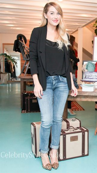Seen on Celebrity Style Guide: Lauren Conrad posed for photos in these jeans (http://rstyle.me/~WIFF) and blazer (http://rstyle.me/~WIDP)  while at the launch of The Little Market at the Citizens of Humanity Concept Shop in West Hollywood, California.