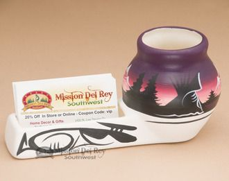 Navajo Pottery Business Card Desk Caddy -Purple (nap650)