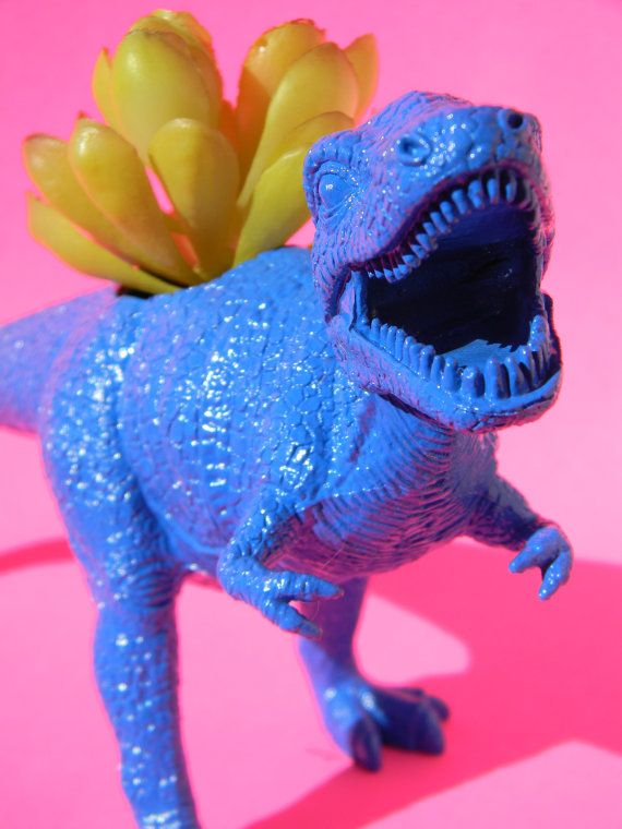 Blue TREX dinosaur planter Ready to Plant and by crazycouture, $17.50