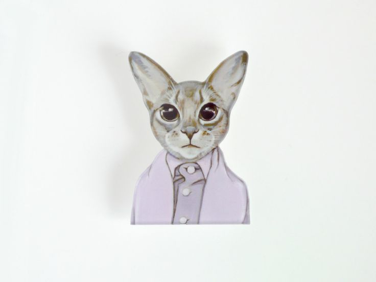 Cat in Clothes Brooch Devon Rex Dressed Cat Brooch Acrylic Cat Jewelry Modern Cat Art Pin Weird Jewelry - pinned by pin4etsy.com