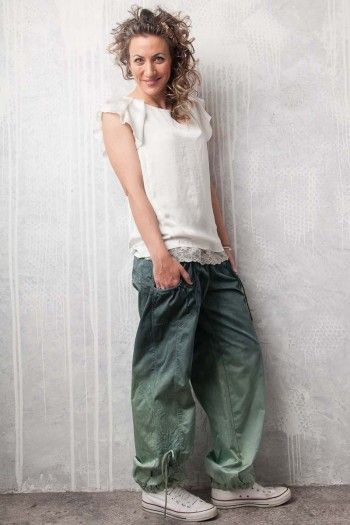 Chino pants. By Adéla Urbanová Fancy and colorful designed story. Handmade coloured, dyed and printed items.