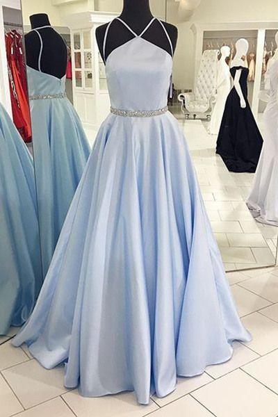 Unique blue chiffon prom dress, ball gown, prom dresses 2017