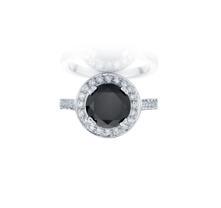 Amazing Black diamond engagement ring with a halo of diamonds