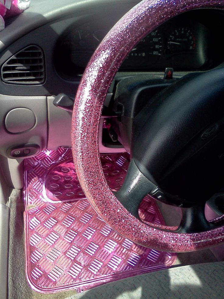 """My Own"" Glitter PINK steering wheel cover (from Korea) bought  for me by my husband (and my aluminum pink floor mats from Scotland)"