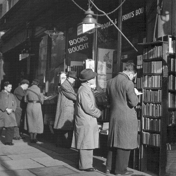 """Charing Cross Road, London, 1937    It reminds me of the book """"84 Charing Cross Road"""" by Helene Hanff :)"""