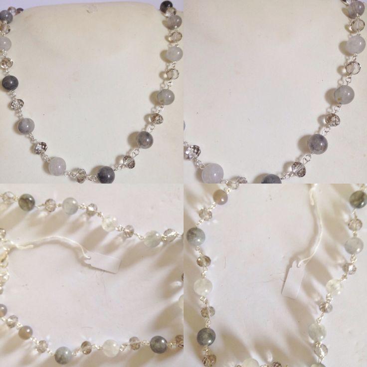 #collana fatta a mano in #filo #metallico color #argento ...