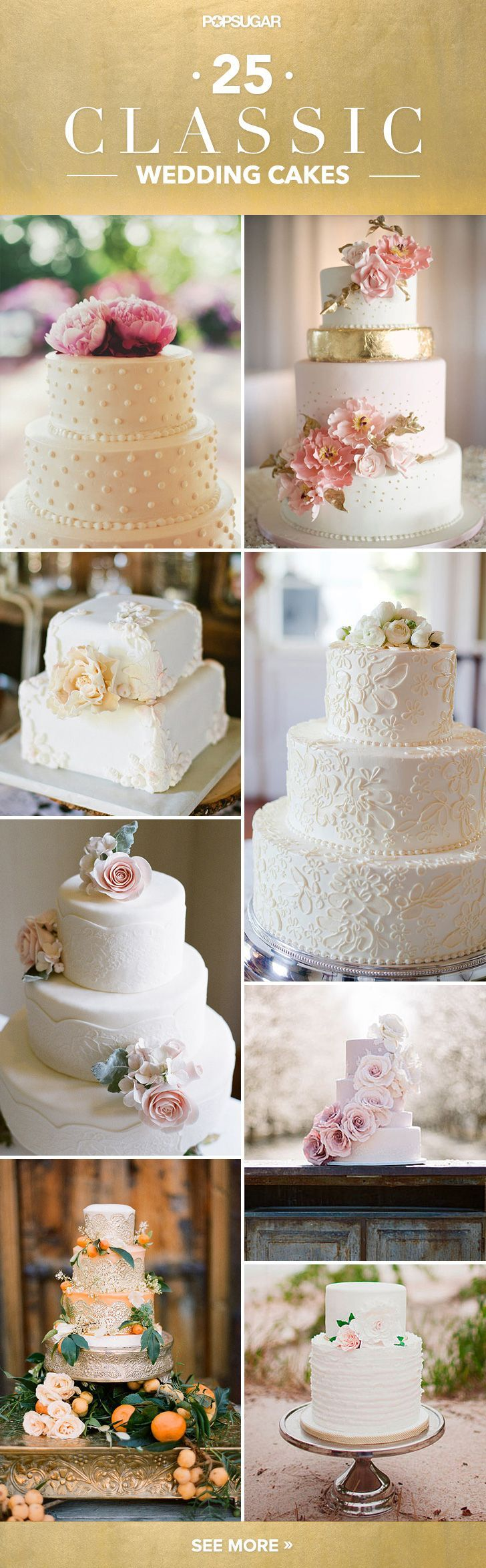 Get ready, because you'll want to bookmark all of these classic wedding cakes.
