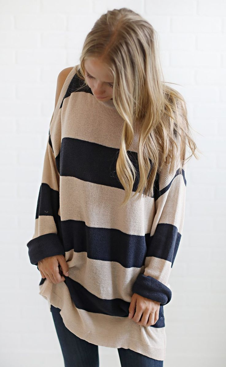 comfy casual striped sweater - navy