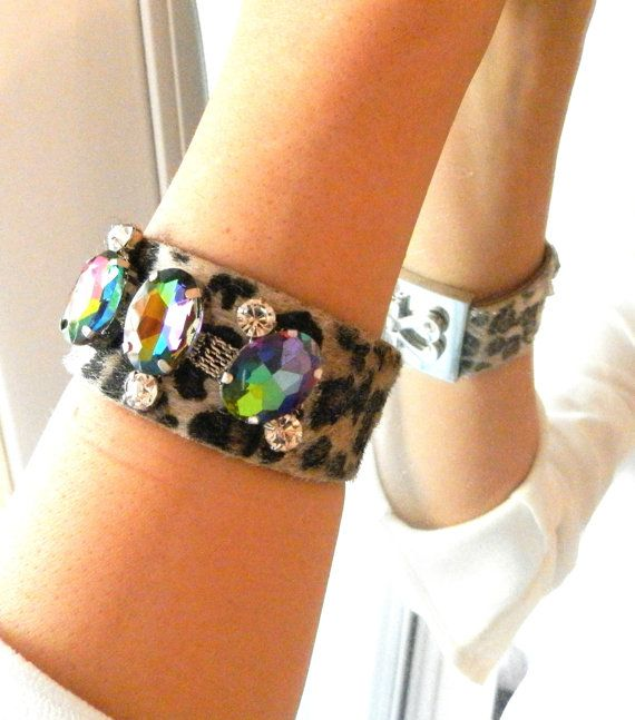 Leopard Leather Cuff Bracelet for women with Swarovski Crystals - Luxurious Leopard Print Wrap Bracelet