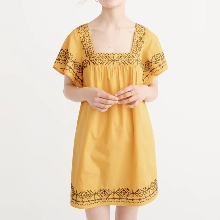 ==> [Free Shipping] Buy Best Fashion 2017 Women Short Dresses Backless Short Sleeve Square Collar Vestidos Yellow Embroidery Mini Summer Ladies Party Dress Online with LOWEST Price | 32816957667