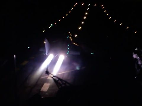 Naval fighter MiG-29K spectacular night takeoff from aircraft carrier