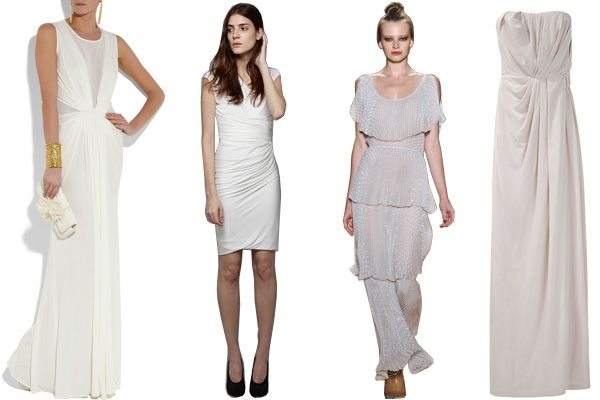 From left: Issa Silk-Chiffon Gown; Doo.Ri Belted Ruched Dress; Rebecca Taylor Seltzer Micro Pleat Gown; Thakoon Strapless Draped Gown.