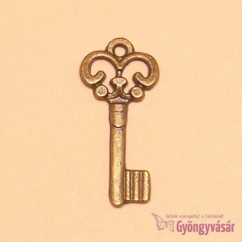Rézszínű, díszes kulcs - fém fityegő