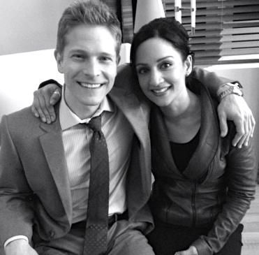 Matt Czuchry and Archie Panjabi on their last day of filming together on the Good Wife